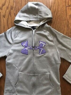 Under Armour ZIP Cold Gear Youth Girl's MEDIUM YMED Hoodie Sweatshirt Loose
