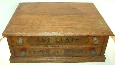Vintage J & P Coats 2 Drawer Spool Cotton Display Cabinet Sewing Chest