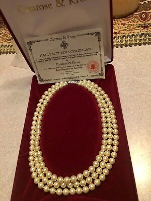 Camrose Kross Jackie Kennedy Collection Three Strand Pearl Necklace! Lovely!