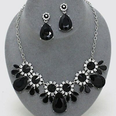 Wedding Pageant Prom Black & Clear Crystal Elegant Fashion Costume Necklace Set