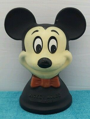 ✔ Vtg 1950's 1960's Mickey Mouse Plastic Piggy Coin Bank Reliable Co Canada