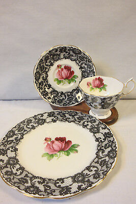 "Royal Albert 3 Piece Luncheon Set,  ""Senorita"" Pattern  Black Lace & Pink Rose"