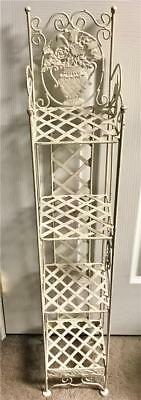 "Vintage Cast Metal White Paint 4 Shelf Plant Stand - 37"" T by 6 1/2"" W & D"