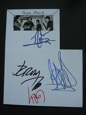 Papa Roach - Original Hand Signed Index Cards Autograph Feat. Coby Dick
