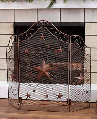 Scrolled Western Star Fireplace Screen Primitive Country Stars Fireplace Screen