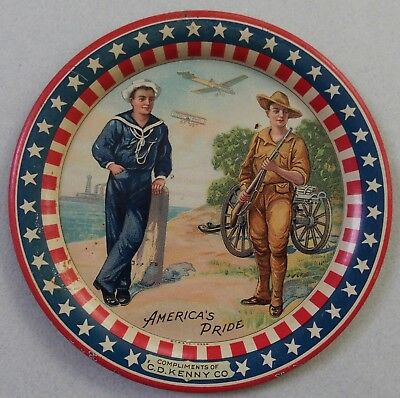 """C. D. Kenny """"america's Pride"""" Advertising Tip Tray Ww I Soldier And Sailor Mint"""