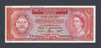 Belize 5 Dollars 1-1-1976  P35bs Specimen Perforated About Uncirculated