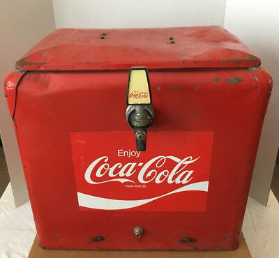 PROGRESS REFRIGERATOR CO. RED METAL COOLER reconfigured to be fountain dispenser