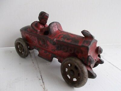1910-20's CAST IRON TOY RACE CAR - BOAT TAIL DESIGN -  A. C. WILLIAMS TOY MFG CO