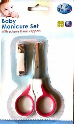 Pink 2 Piece Cutter Scissors Clipper Baby Nail Care Manicure FREE POSTAGE
