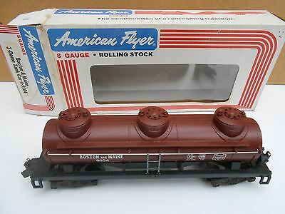 S Gauge American Flyer -  BOSTON & MAINE 3-DOME Tank Car  -  MIB - NOS - HARR 2