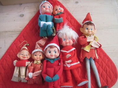 Vintage Christmas Pixie Elf Knee Hugger Elves Lot (7) Felt & Rubber 1960's Japan