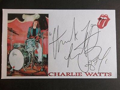 """""""The Rolling Stones"""" Charlie Watts Autographed 3x5 Index Card A"""