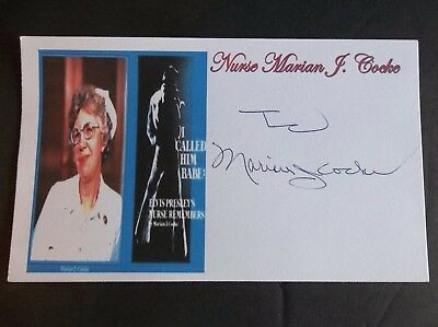 "Nurse Marian J. Cocke ""ELVIS' NURSE"" Autographed 3x5 Index Card"