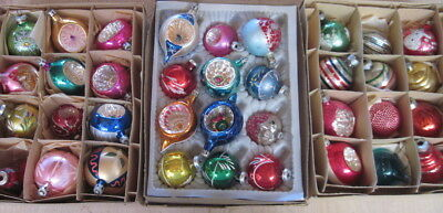 36 Vintage Mercury Glass Christmas Ornaments W. Germany, Poland, Japan Indents+