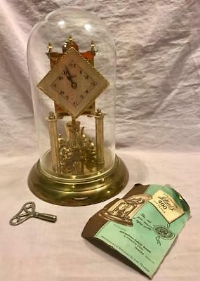 Vintage Antique Schatz 400 Day Clock Brass W/ Glass Dome And Directions