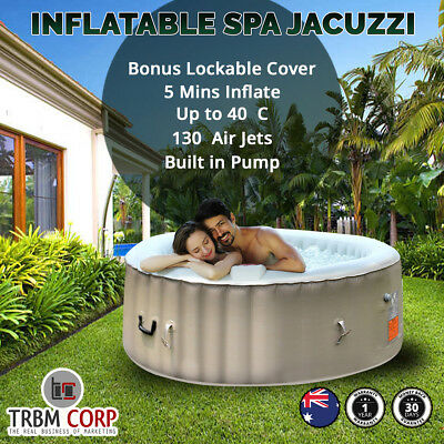 Spa Hot Tub Jacuzzi Indoor Outdoor Portable Seats 4-6 130 Jets, 2 Filters, Cover