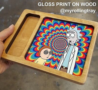 Portable Wooden Rick and Morty Trippy Custom Rolling Tray BEST GIFT! raw
