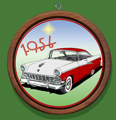 Ford 1956 Customline Victoria Redwood and Canvas Christmas Tree Ornament