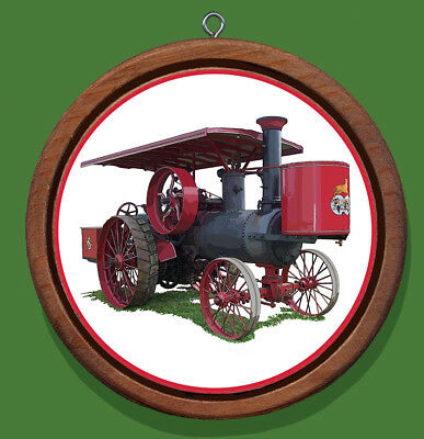 Gaar Scott Traction Engine Redwood and Canvas Christmas Tree Ornament