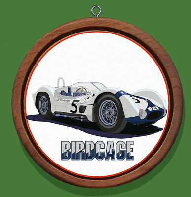Maserati Birdcage Redwood and Canvas Christmas Ornament