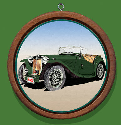 MG-TC Sports Car Redwood and Canvas Christmas Tree Ornament