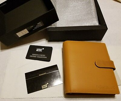 New MontBlanc Leather Organizer Diary Notes Planner 9504 Natural Brown Leather