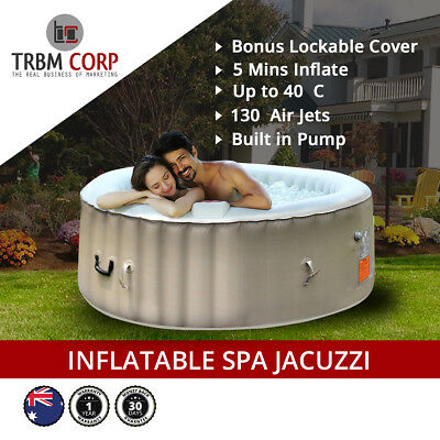 NEW Portable Inflatable Spa Hot Tub Seats 4-6 Indoor Outdoor 130 Jets 40C Cover