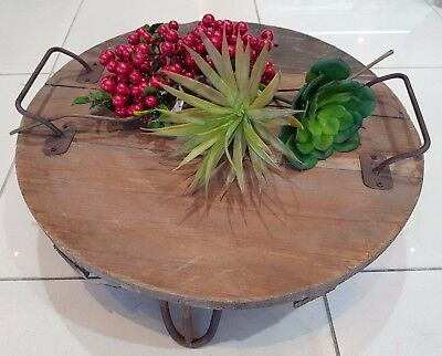 Antique looking round timber tray
