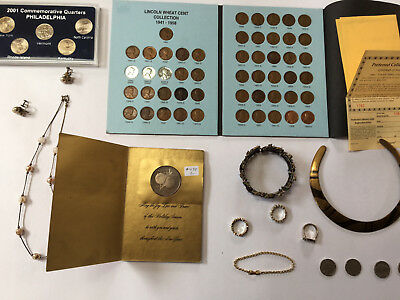 Lot of U.S. Coins Vintage Jewelry, Wheat Penny Collection & Old Sterling jewelry