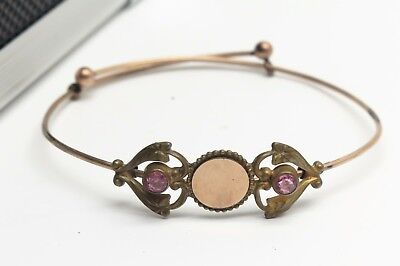 Antique Victorian Heart Gold Filled Wire Signet Bangle Pink Rhinestone 6.2g