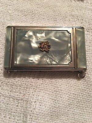Girey Mother of Pearl Green Vintage Makeup Compact Mirrored Case
