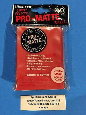 ( RED Yu-Gi-Oh Sleeves ) - 60ct Small Size Deck Protectors - Ultra Pro PRO-MATTE