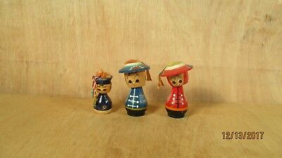 Lot 3 Wooden Wood Small Bobbleheads Nodders Asian Family Mother Father Child