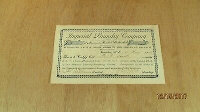 1909 Capital Stock Shares Certificate 2 Shares Imperial Laundry Company Nanimo