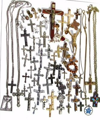 Vintage Religious Cross & Crucifix Lot, 79 PIECES, Necklaces, Earrings,Crosses