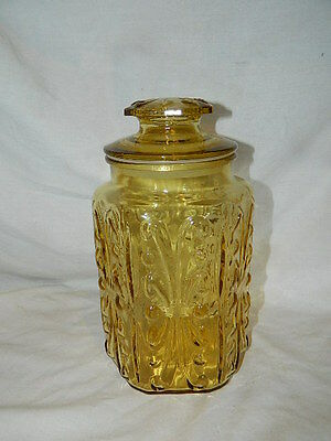 vintage embossed yellow amber Canister Apothecary candy Jar