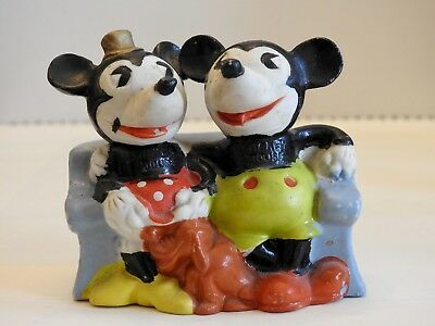 Vintage Pie-Eyed Mickey Mouse, Minnie, and Pluto Bisque Toothbrush Holder Japan