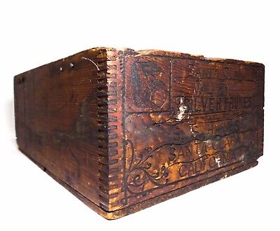 Antique 's. S. Haines, Silver Prunes' Finger-Jointed Wooden Crate Santa Clara Ca