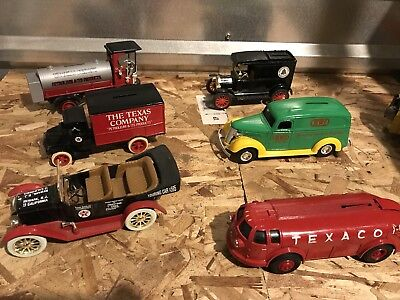TEXACO Lot of 9 ERTL COIN BANKS - 3 AIRPLANES & 6 CARS  ERTL & LIBERTY DIE CAST