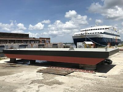 Financing Available- New 40X12X3.5 Steel Spud Deck Barge, Marine Construction