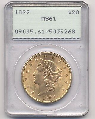 1899 G$20 MS-61 PCGS Gold Liberty Head Double Eagle Old OGH Rattler Holder