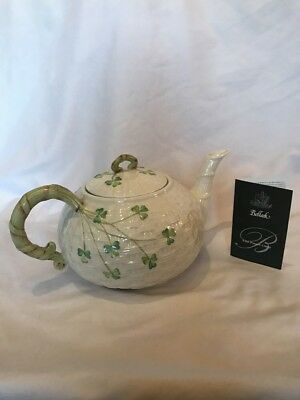Belleek Shamrock Teapot Excellent Condition