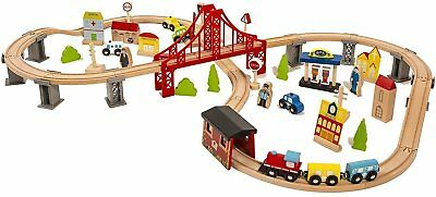 Metropolis Wooden Train Set 70 pcs Wooden Toy Railway Kids Activity