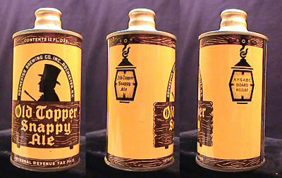 Old Topper Snappy Ale - Late 1930's - J-Spout Cone Top Can - Rochester New York