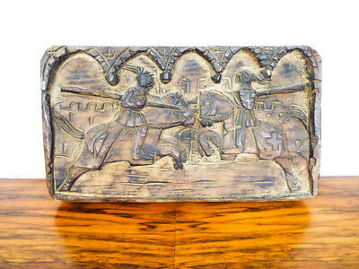 Vintage Hand Carved Relief Plaque Wall Hanging Wood Block Art Knights Jousting