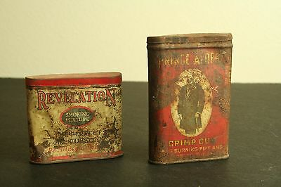 Lot of 2 vintage collectible pipe and cigarette smoking tobacco tin cans