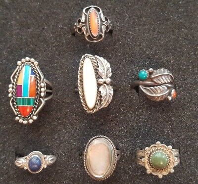 7 Vintage Old Pawn Native American & Mex Sterling Silver & Multi-stone RINGS Lot