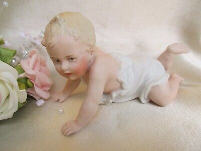 Antique German Gebruder Heubach Bisque Crawling  Piano Baby Doll Figurine
