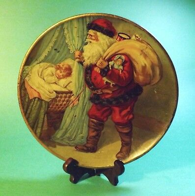 Antique C D Kenny Co. TIN Litho CHRISTMAS Advertising Plate w/ Santa and Toys